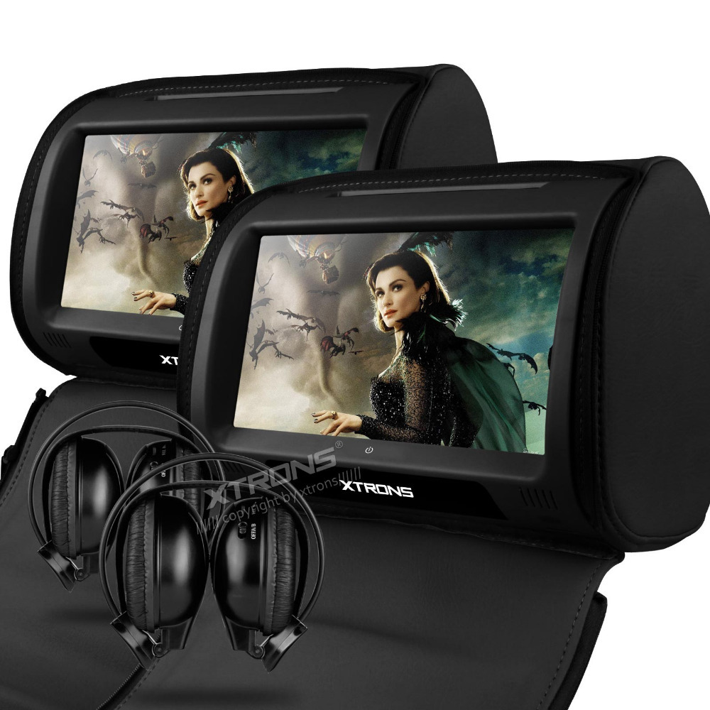 """2x9"""" Black Color Touch Screen Car Headrest DVD Headrest Car Monitor with 2 IR Headphones & 8 Bits & 32 Bits Games(China (Mainland))"""