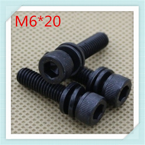 50pcs/lot  Grade 12.9 Steel With Black Oxide  M6*20 Hex Socket Combination Screw With Washer<br><br>Aliexpress