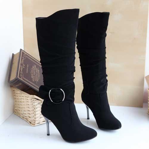 Black High Heels Boots For Women