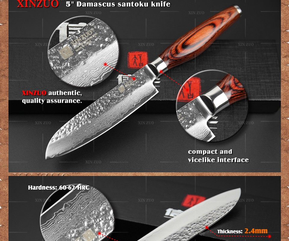 """Buy XINZUO 5"""" santoku knife  73 layers Damascus kitchen knife japanese VG10 chef knife with Color wood handle free shipping cheap"""