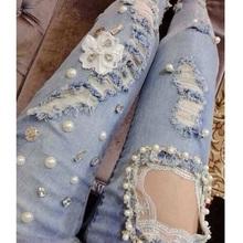 2016 Sexy Lace Handmade Sparkling Bead Diamond Rhinestones Hybrid Nail Ripped Slim Skinny Women Jeans