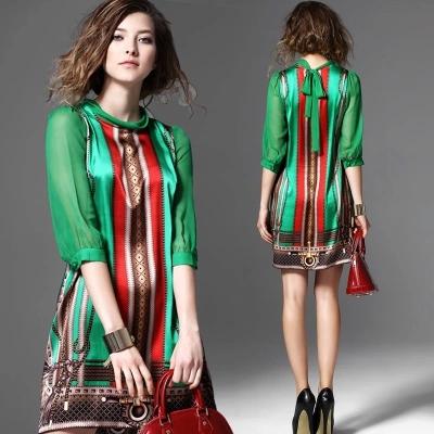 summer dress dresses for women New arrival 2016 silk fashion three quarter sleeve vintage bow green print one-piece dress soft