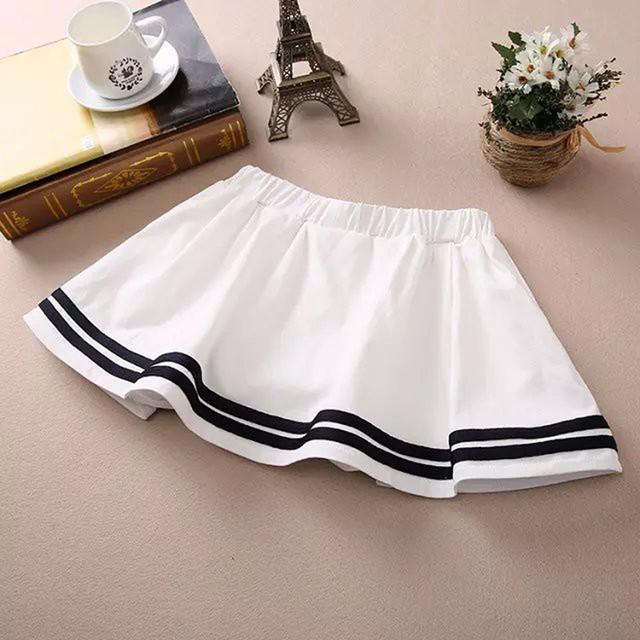 2106 новый свободного покроя хлопок короткие юбки для дамы синий белые студенты плиссированные ...