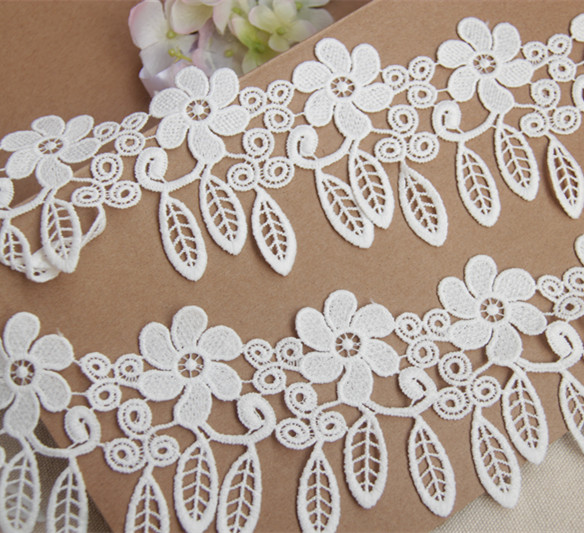 New Arrival 10yards/lot White Water Soluble Nice Lace,7cm Decoration Tassel Fringe Lace Trim(China (Mainland))
