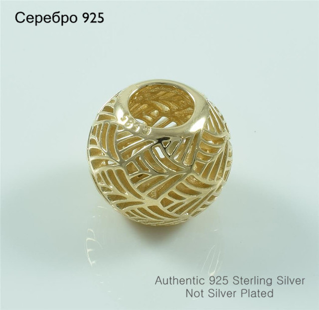 S925 чистое серебро ювелирные изделия золотой покрытие Palm вал бусины для европейский своими руками подвески-талисманы браслеты лето стиль для женщины
