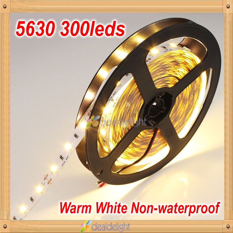 Super Bright DC12V 5M 5630 SMD 300 leds Non-Waterproof  Nature/Warm/Cool White Flexible LED Strip Light Freeshipping(China (Mainland))
