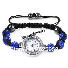 Dark Blue Rhinestone Shamballa de la pulsera de moda Shamball bolas de cuarzo reloj de para min. es $10 el envío gratis