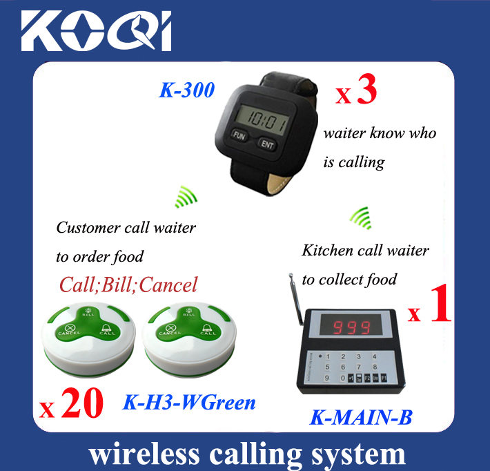 Quick service Pager system for kitchen calling waiter server one kit of one keypad 3 watches 20 button 3-key(China (Mainland))