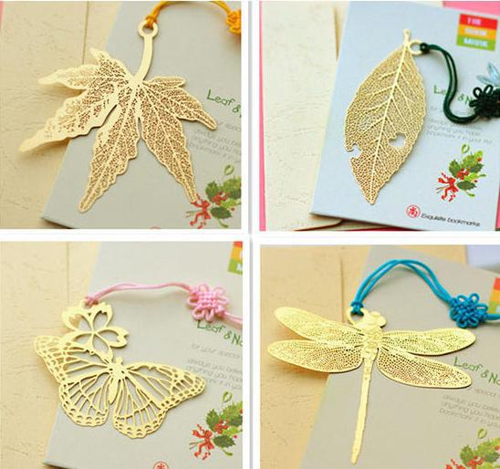 (Min Order is $6)(6 different styles choose)Retail Brass Refinement Animal Tree leaf Gift Metal Bookmarks Vintage Book Marker(China (Mainland))
