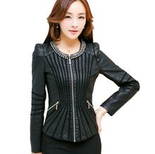 Leather Jacket Women 2016 New Fashion Spring Autumn PU Leather Jacket Black Zipper Slim Waist Jackets Coat(China (Mainland))