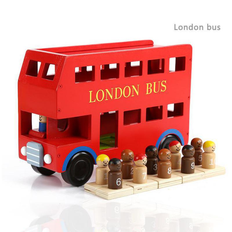 Diecasts Toy Vehicles Kids Toys children wooden toy car the model of the intelligent vehicle big double deck London bus model(China (Mainland))