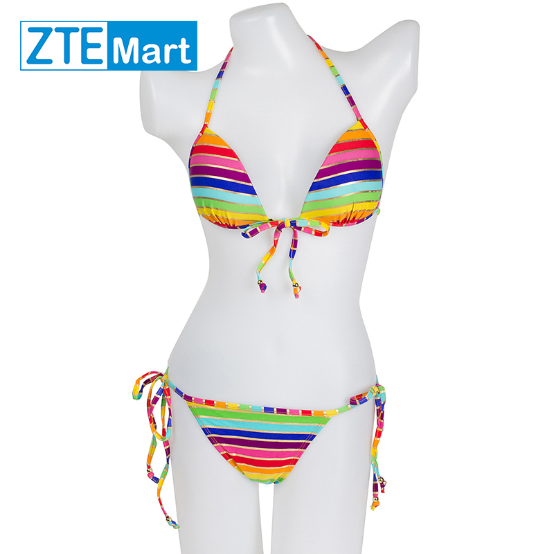 2015new Sexy Women rainbow pattern bikinis set push up colored srtipes women's bikinis simwear swimsuit bathing suit beachwear(China (Mainland))