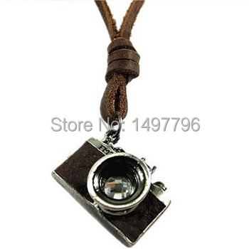 Camera Leather pendant necklace for men women fashion Jewelry(China (Mainland))
