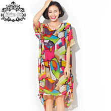 Plus Size Chiffon Dress Summer Women's Clothing Sweet Colorful Fashion Long T-Shirt Geometric Print Large Size Loose Tops&Tees