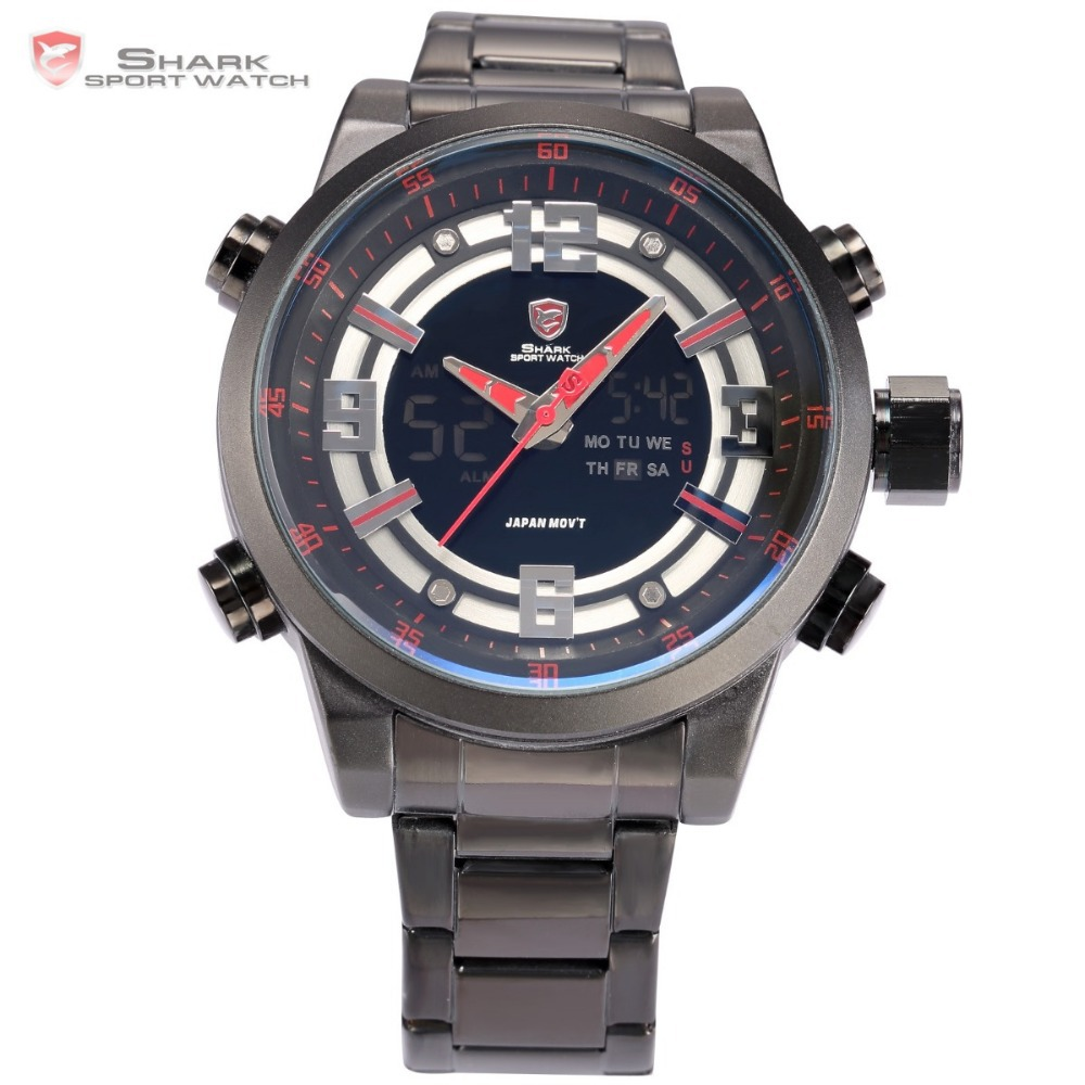 Kitefin Shark Type A Series Dual Time Zone Date Day Display Stainless Full Steel Black Red Military Men Sport Quartz Watch/SH340(China (Mainland))