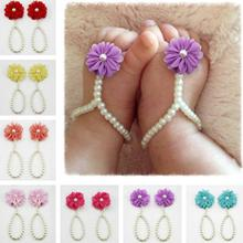 New Pearl Chiffon Flower Barefoot Toddler Flower Beach Sandals Anklet chain Summer Sandals for toddler girls baby floral shoes(China (Mainland))
