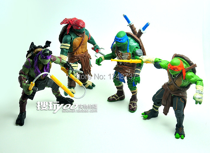 Wholesale for 10 sets playmates TMNT Teenage Mutant Ninja Turtles toys, 4 pcs/set Donatello Action Figure, PVC toys for kids(China (Mainland))