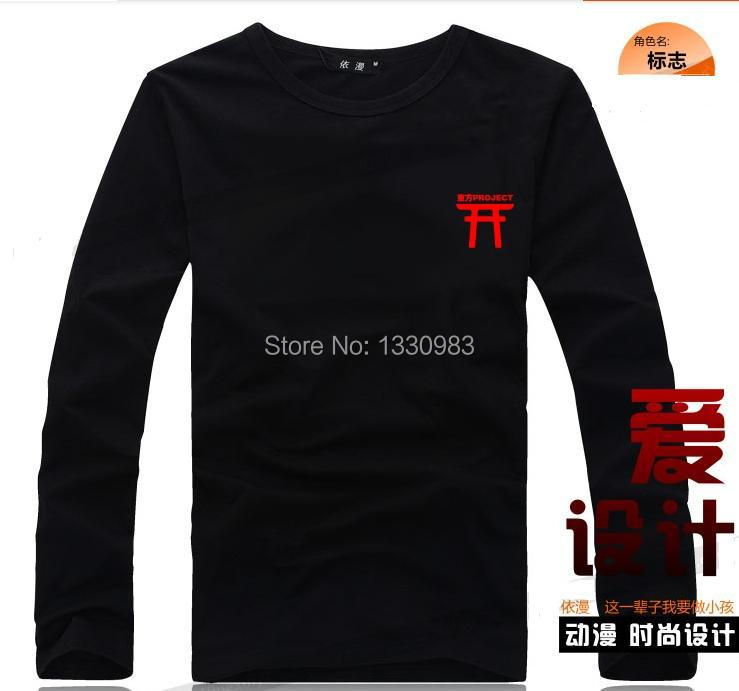 Animation Touhou Project. Animate Long-Sleeve T shirt. Cosplay.Costume. Log. Black T + Red Log(China (Mainland))