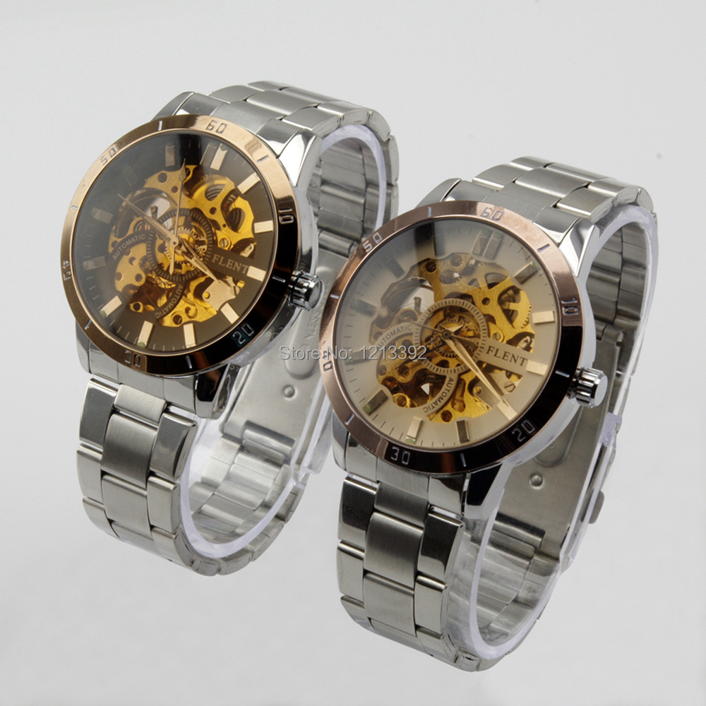 Fashion Golden Bezel Skeleton StainlessSteel Analog Men Automatic Mechanical wristWatches Gift BS88<br><br>Aliexpress