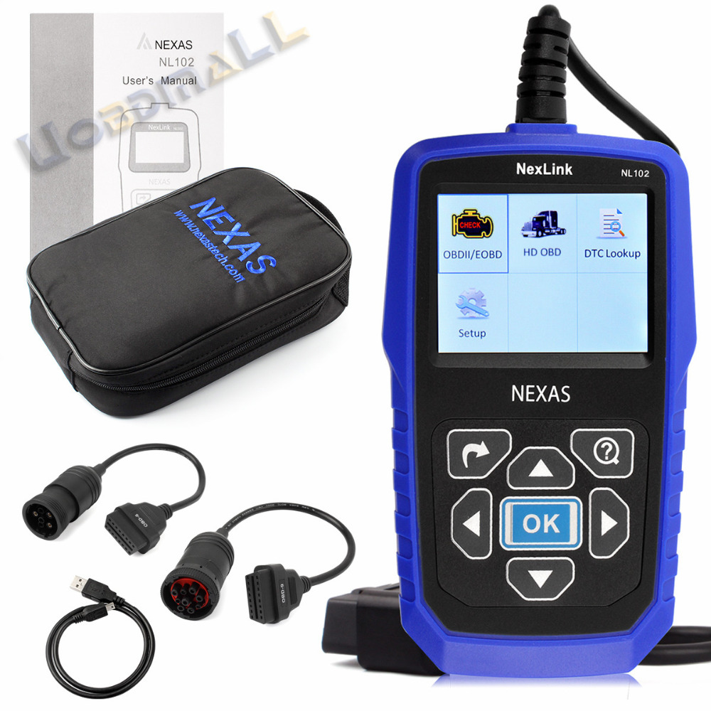 Free Shipping Nexlink NL102 Gasoline Diesel Car Truck 2 in 1 OBD Diagnostic Tool Automotive Escaner For Car Truck Heavy Duty(China (Mainland))