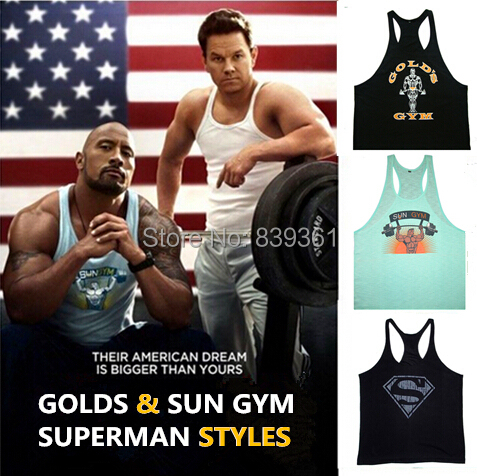 Men's Sports Big Muscle Golds Gym Weight Lifting Vest,Fitness Bodybuilding Workout Tank Tops Powerhouse Undershirt Superman(China (Mainland))