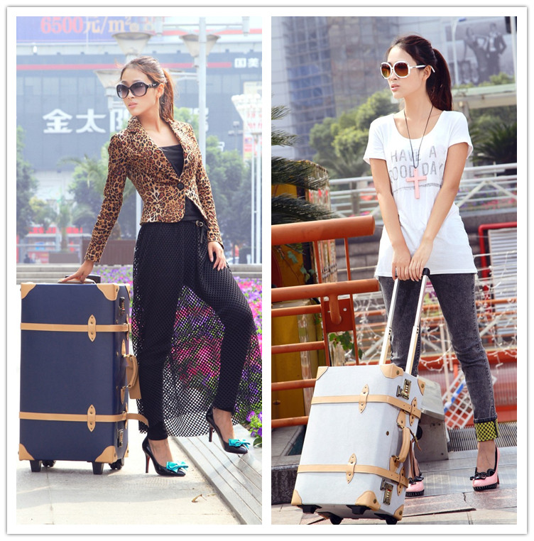 Vintage trolley luggage cowhide universal wheels commercial travel bag handbag leather bags(China (Mainland))