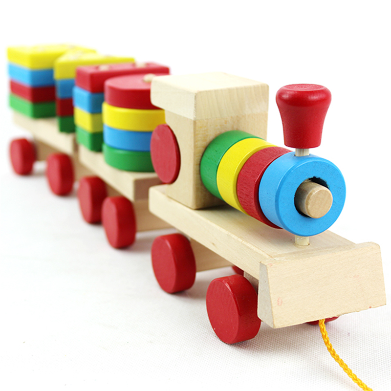 Free Shipping colorful baby wooden toy pull train building blocks toys,kids blocks train,three carriages wooden train(China (Mainland))