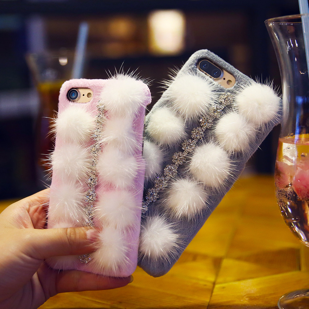 Luxury Plush Hard Case Cover Iphone 7 6 6S Plus Bling Rhinestone Phone Cases Apple 7Plus Back Coque - FLOVEMECASE Store store