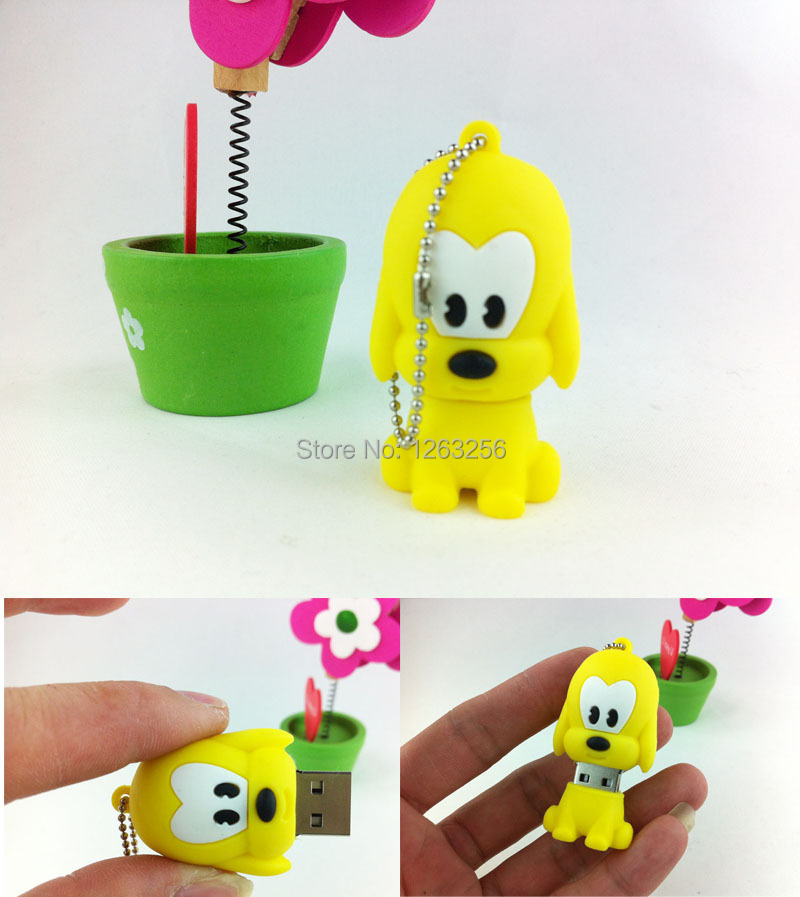 Cute yellow pug dog Pendrive USB Flash Drive 128MB 2GB 4GB 8GB 16GB 32GB 64GB Pen Drives Flash USB Stick USB 2.0 Dropping(China (Mainland))