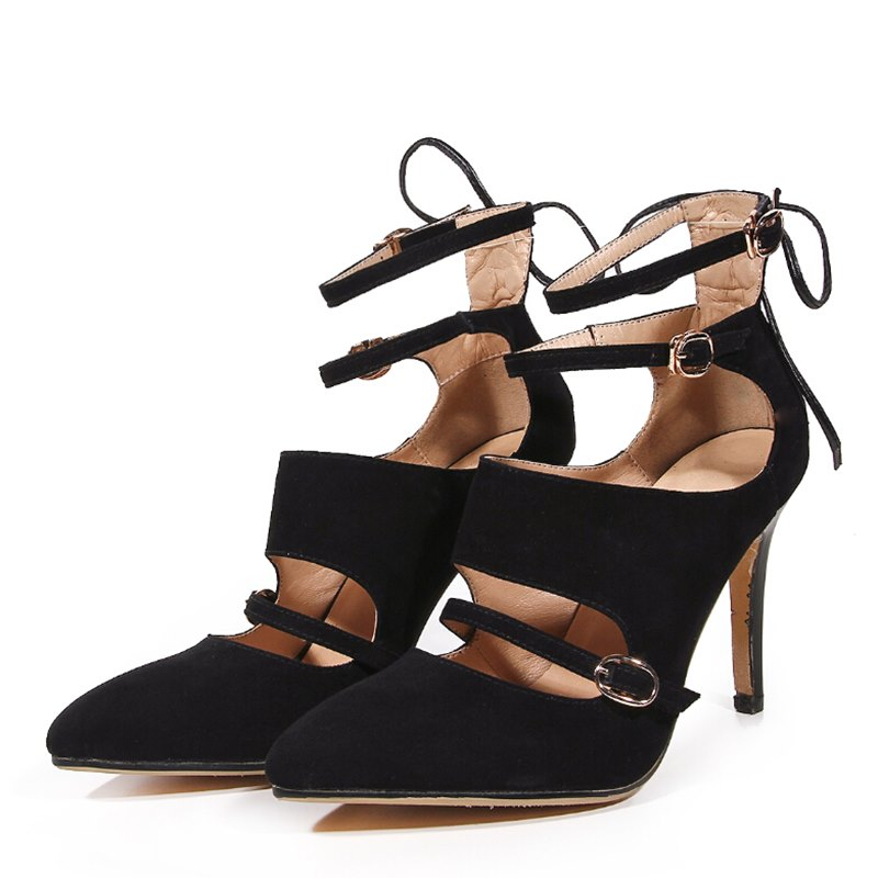 Classic fashion High quality sheepskin women pumps ankle strap design sexy high heels ladies party wedding shoes for woman<br><br>Aliexpress