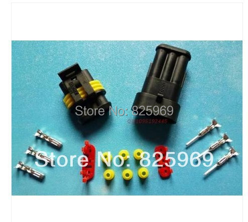 Free Shipping 10sets=170pcs 3 Pin/way HID Waterproof Electrical connector kit (Housing+Terminal+grommet+Other) for car boat ect<br><br>Aliexpress