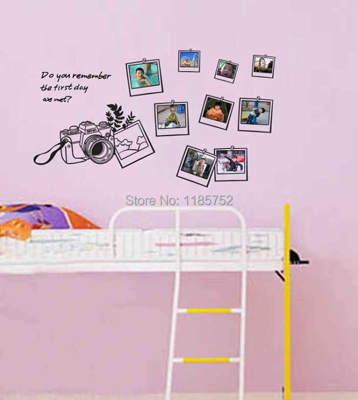 New Family Photos Camera Wall Stickers for Livingroom Paper Stickers for Kids Room Wall Decals Vinyl Stickers Wall Decor(China (Mainland))