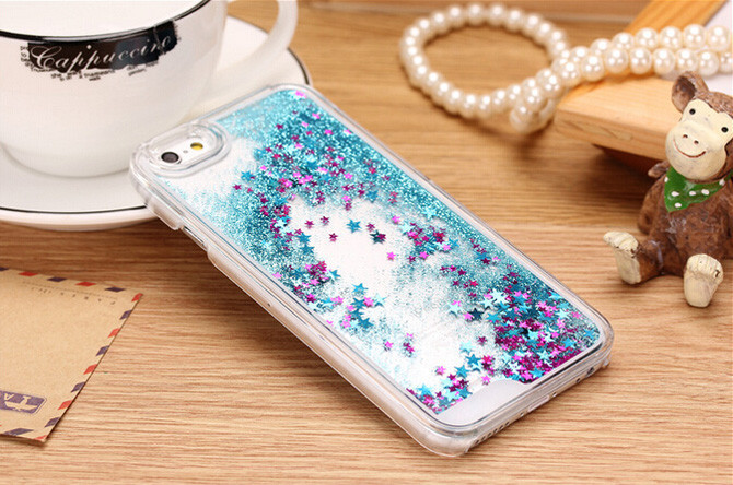 Hot ! Glitter Stars Dynamic Liquid Quicksand Hard Case Cover For iPhone 4 4s Transparent Clear Phone Case.10PCS Free Shipping