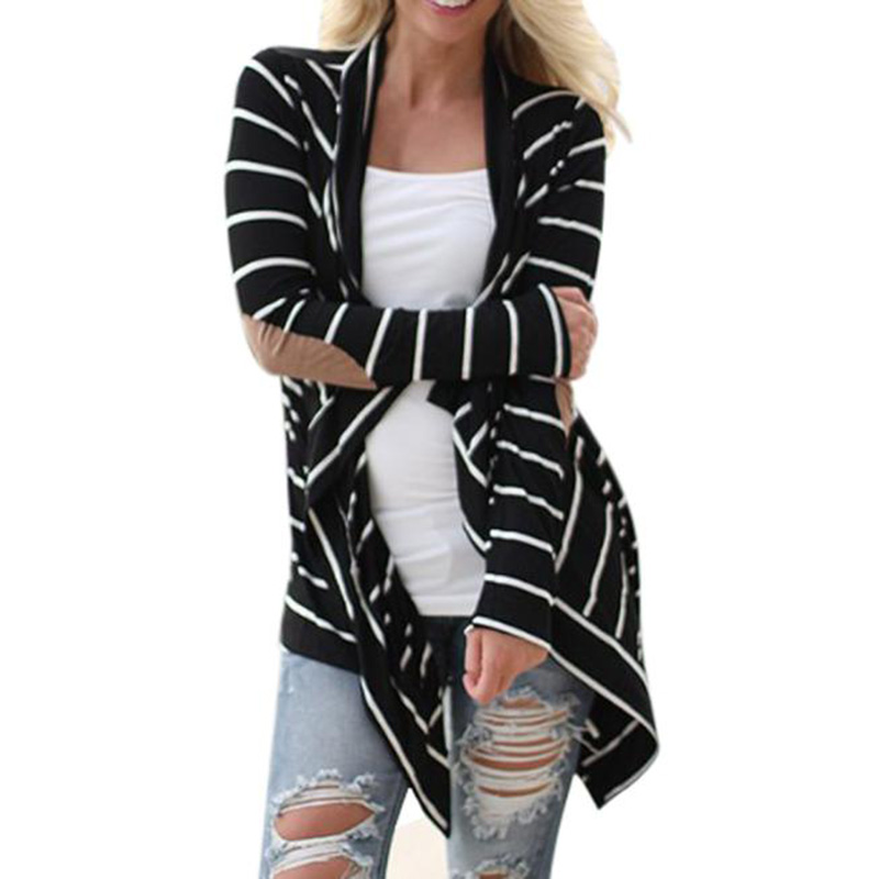 Sali 2015 New Fashion 1 PC Plus Size Women Casual Long Sleeve Striped Cardigans Patchwork Outwear
