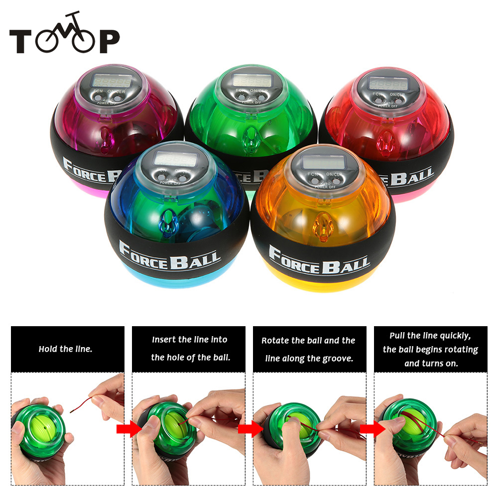 12000 RPMS Gyroscope PowerBall Gyro Power Ball Wrist Arm Exercise Strengthener LED Force Ball with Speed Meter Counter 5Colors(China (Mainland))