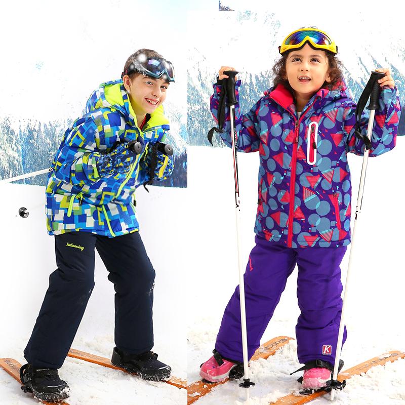 5-15 Years Winter Children Clothing Sets Boys Girls Outdoor Ski Jacket+Bib Pants 2pc Waterproof Windproof Children Ski Suit(China (Mainland))