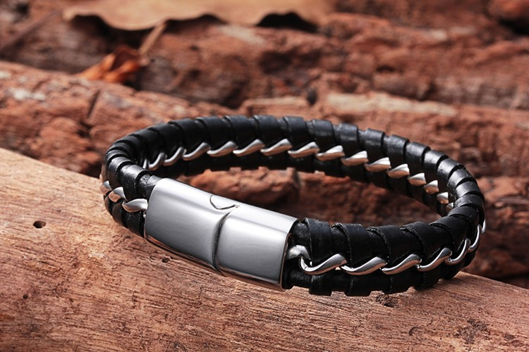 Кожа браслет для мужчины пряжка круг натуральная кожа нержавеющая сталь браслет мужчины браслет MS4006