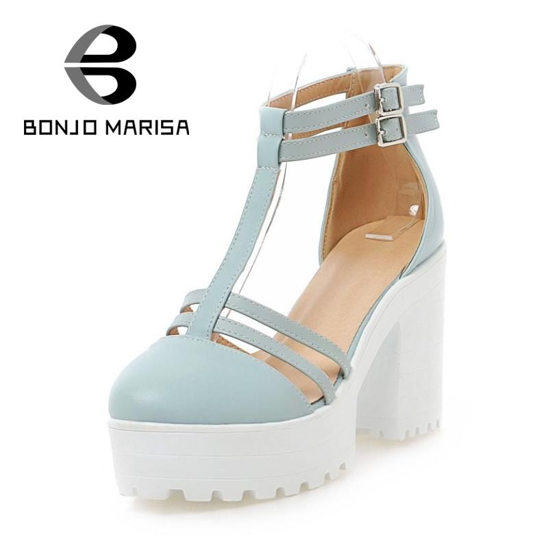 Brand Design Women Sandals 2015 Fashion Square High Heels Open Toe Summer Shoes Gladiator Ankle T straps Thick Platform Sandals(China (Mainland))