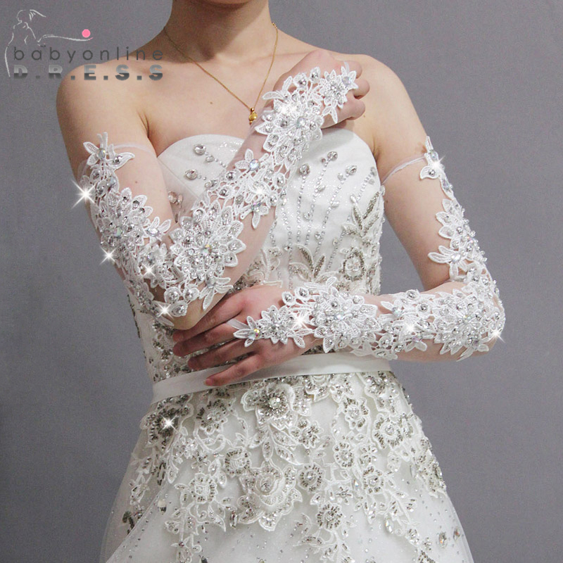 Gorgeous bride slimming sparkling diamond lace wedding for Wedding dress with long gloves