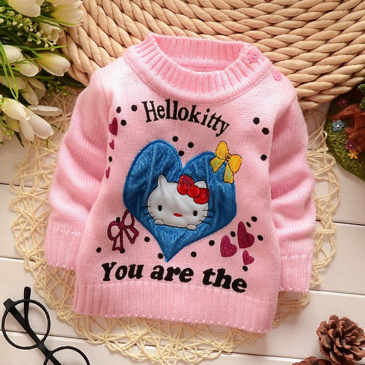 New hello kitty kids Autumn/winter clothes children sweater baby girl's pullovers fashion cartoon sweater for 2-4T 4colors(China (Mainland))