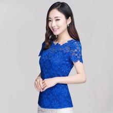 Plus Size 2016 New Summer Fashion Elegant Women Lace Blusas Short Sleeve Slim Sexy Blouses Shirt Floral Oversized Tops Tee(China (Mainland))