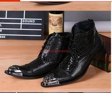 Zwart Botines Hombre Snake Skin Leather Militaire Laarzen Wees Teen Hoge Hakken lace up Cowboy Laarzen Jurk Bruiloft Schoenen mannen(China)