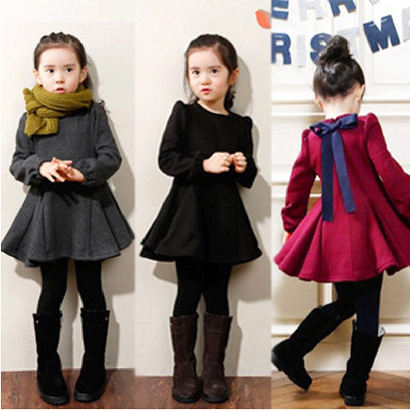 2016 Winter Girls Dress Thicken Girls Warm Cotton Dress Kids Cute Style Comfortable Material with Big Bow(China (Mainland))