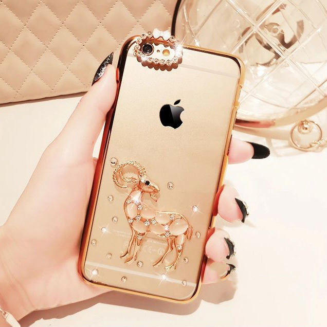 Fashion New Rhinestone Diamond Sheep Transparent Back Cover Case for iPhone 6 Plus 5.5 inch Screen(China (Mainland))