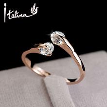 Italina CZ diamante anéis de casamento jóias para as mulheres aberto 18 K rose banhado a ouro anéis de cristal fêmea anel bijoux top quality