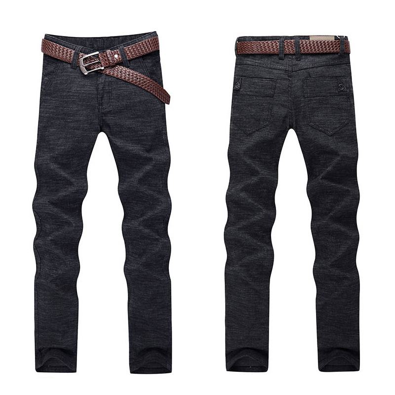 High Quality Men Pants Linen Casual Slim Fit Trousers Male ...