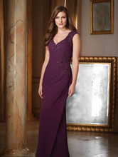 2016 New V Neck Purple Lace Appliques Plus Size Mother of The Bride Dresses For Wedding Hot Sale Formal Customized Evening Gowns(China (Mainland))