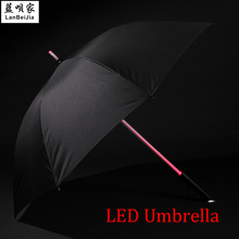 LED Lightsaber Light Up Umbrella with 7 Color Laser sword Light up Golf Umbrellas Changing On the Shaft/Built in Torch at Bottom(China (Mainland))