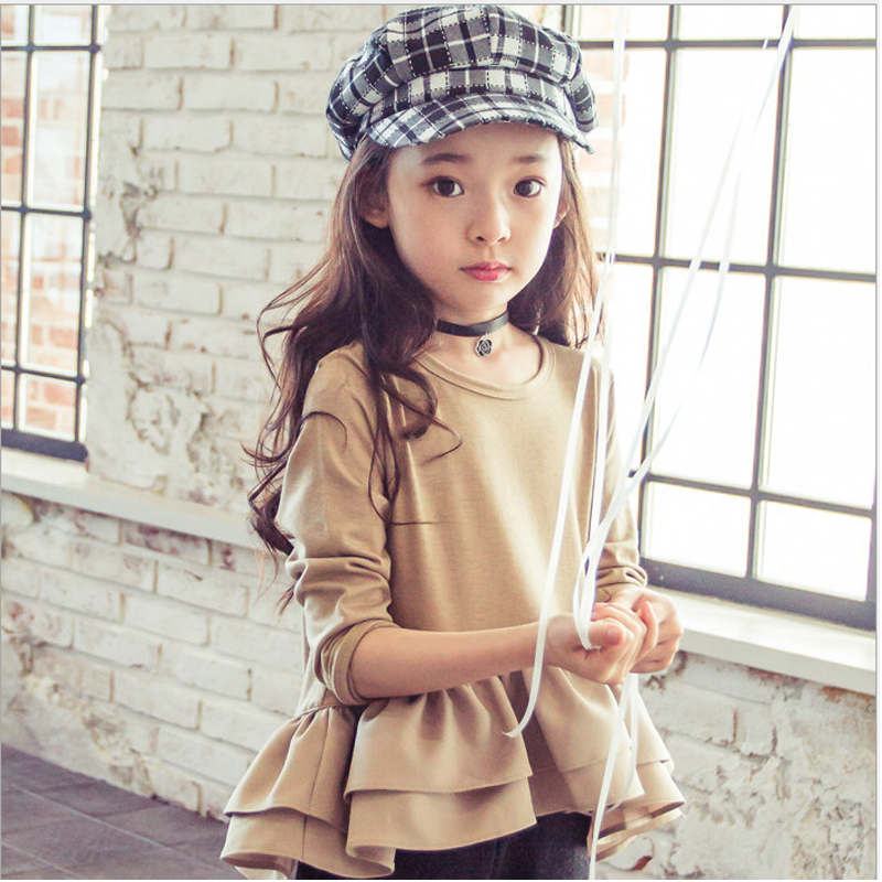Girls autumn long sleeved T-shirt pure color tops new 2016 children baby fashion blazer falbala big girl cotton T-shirt clothes(China (Mainland))