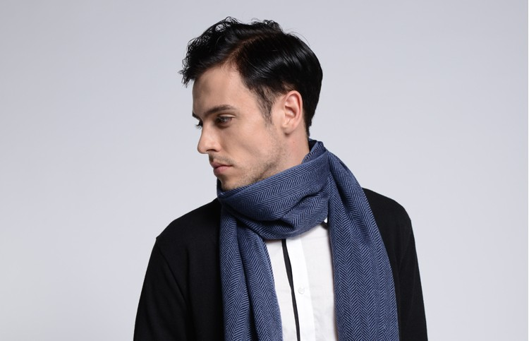 New Winter Men Scarf Natural Warm Wool Scarf Reserve Loose Edge Scarf Gray Beige Navy Free And Easy Bussiness Solid Scarf